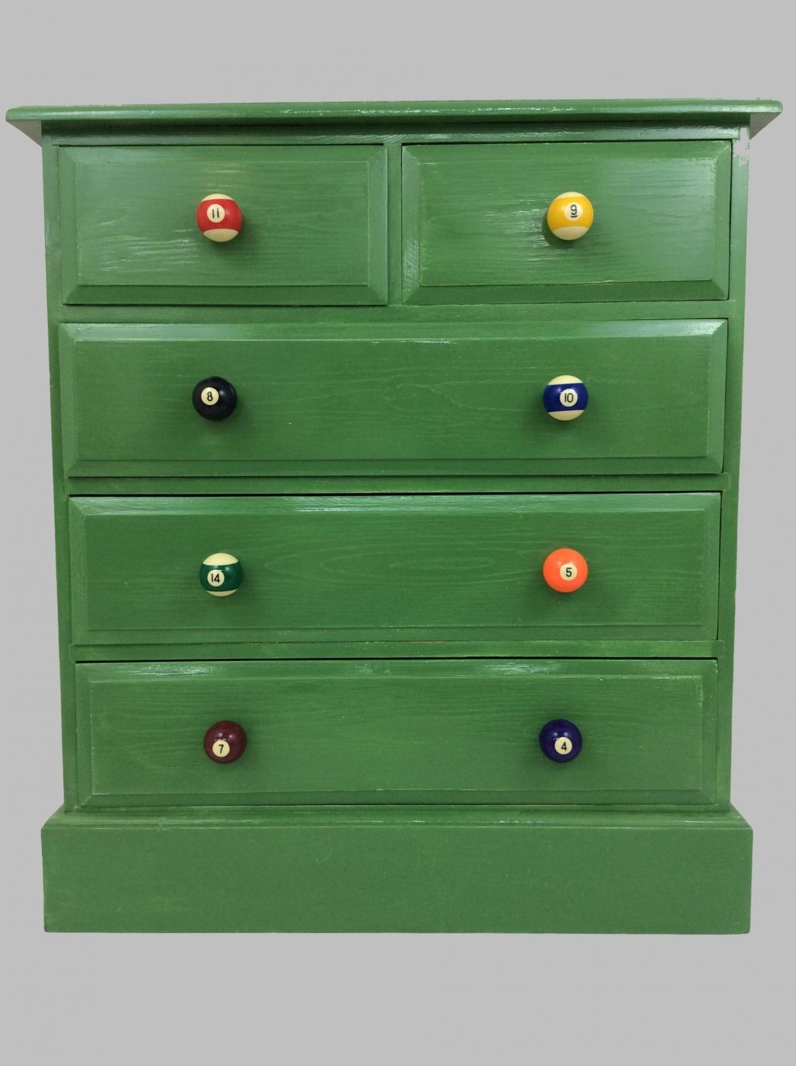 Baize Green and Pool Ball Chest of Drawers