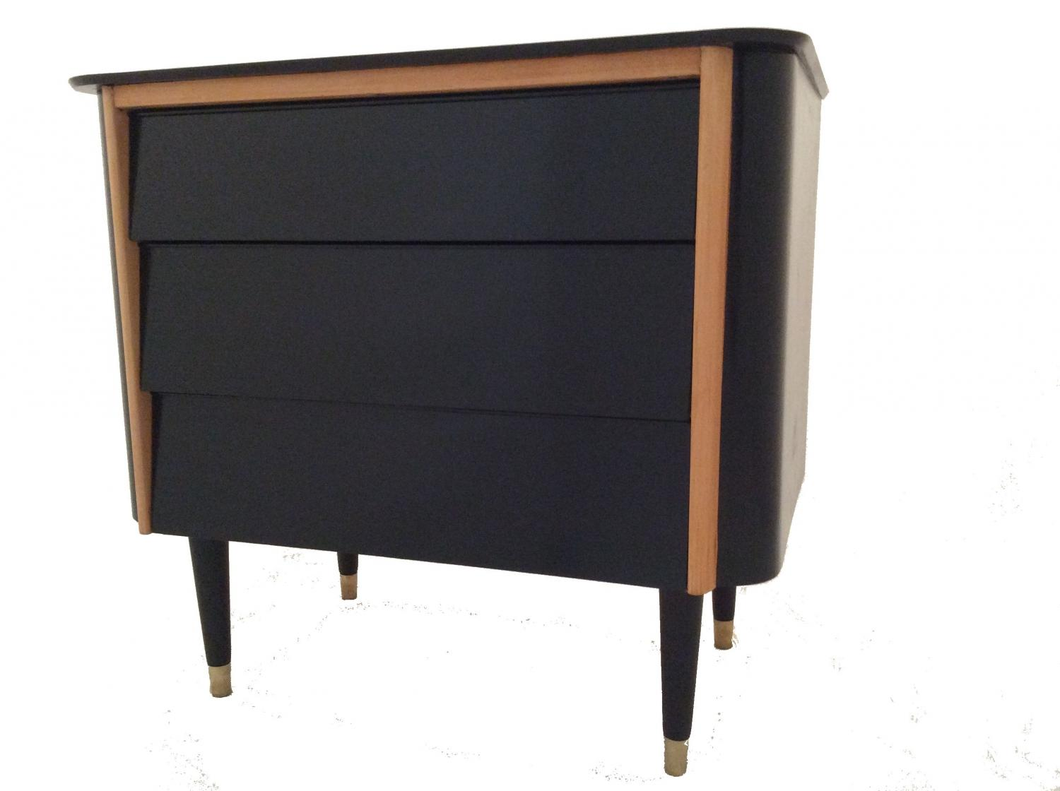 Shiny Black Retro Chest of Drawers