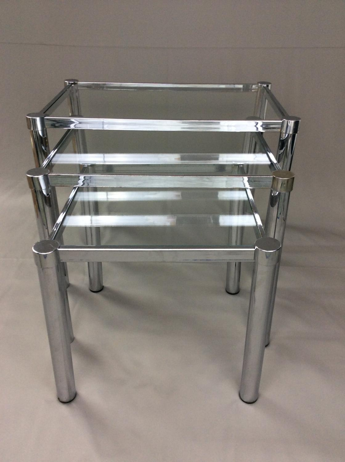 Chrome And Glass Nest Of Tables In Sold Recently