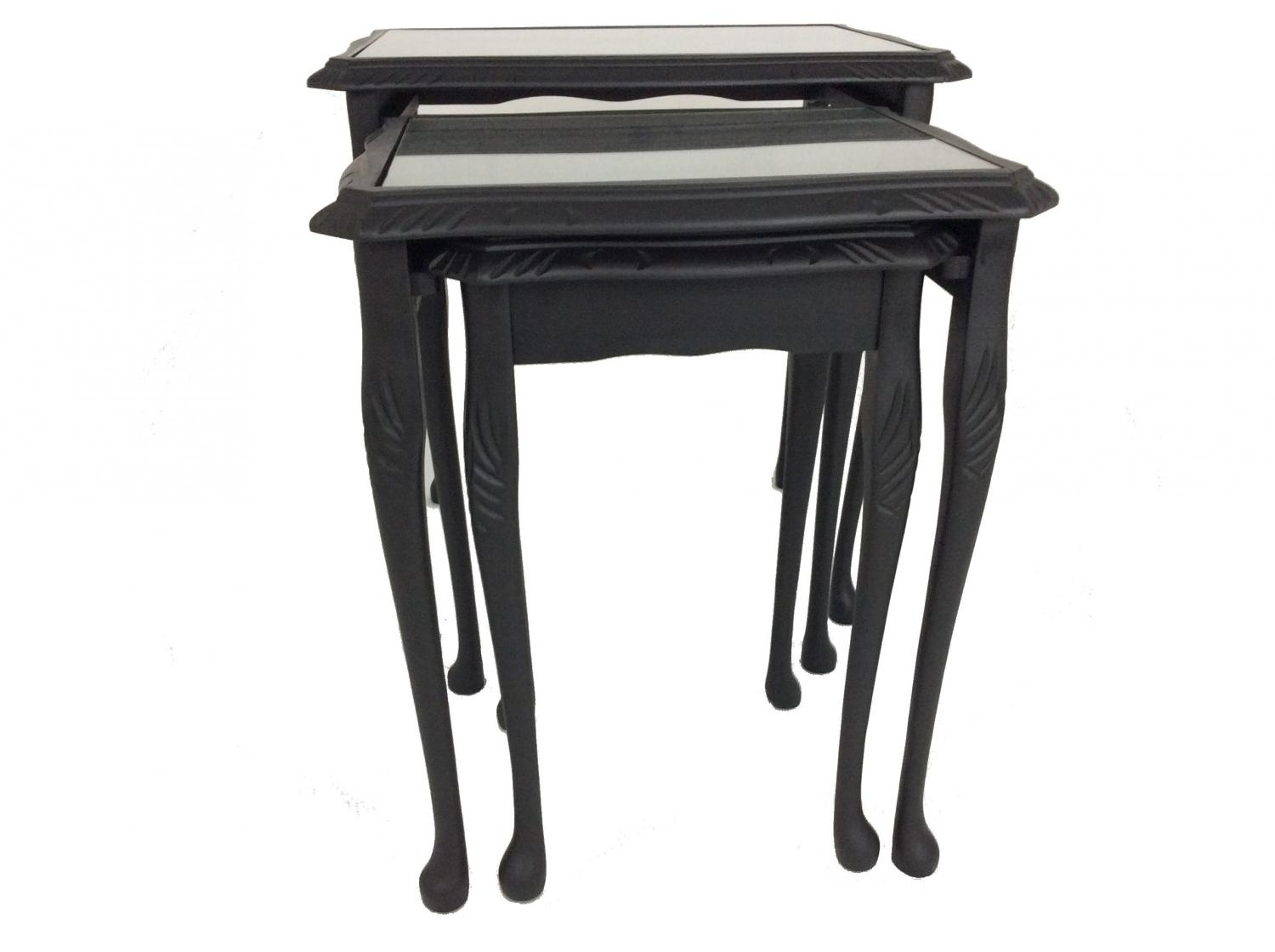 Inky Black Leather Nest of tables