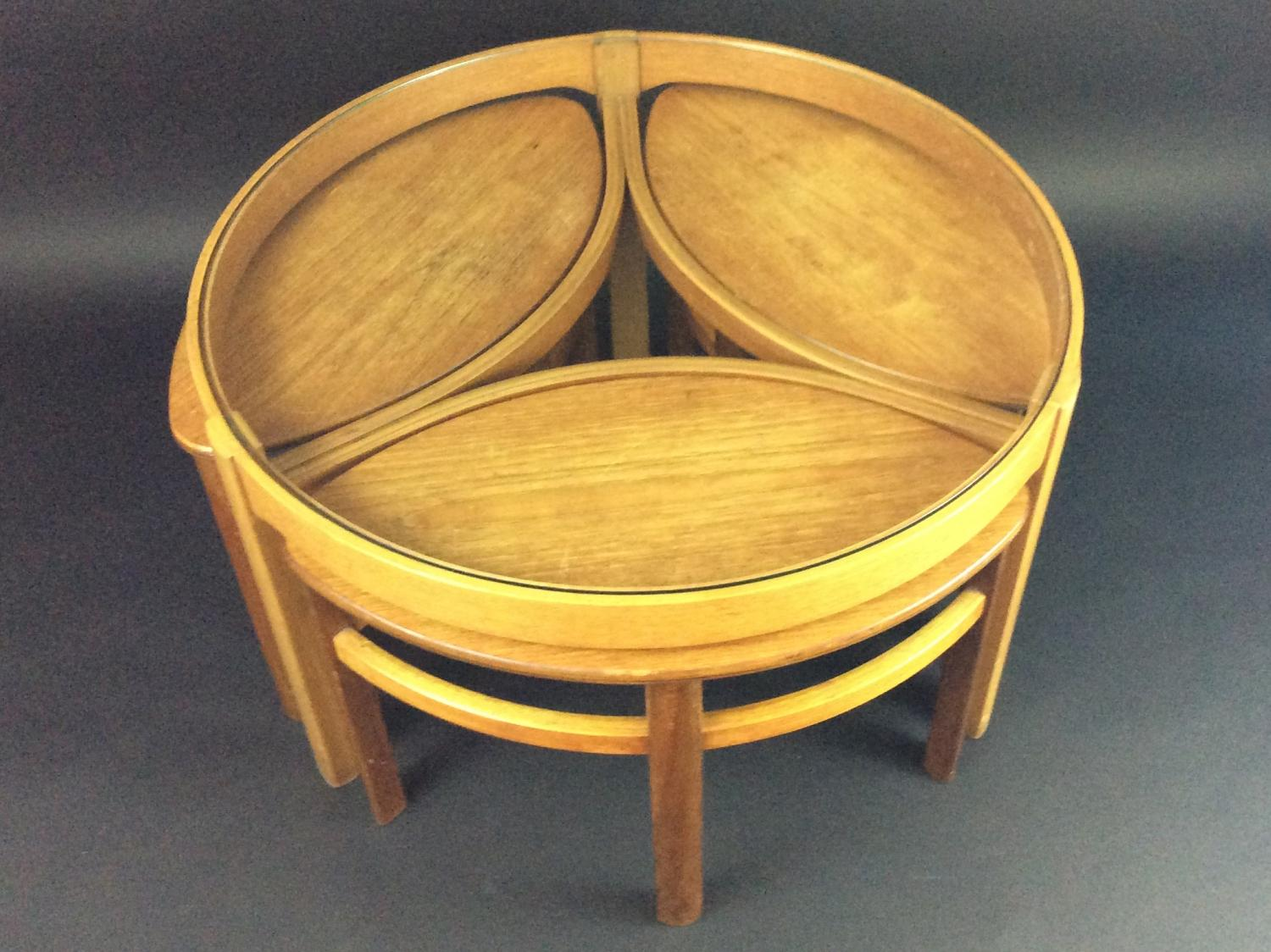 Retro light teak circular glass top coffee table nest of tables by - Nathan Retro Teak Coffee Table And Nest Picture 1