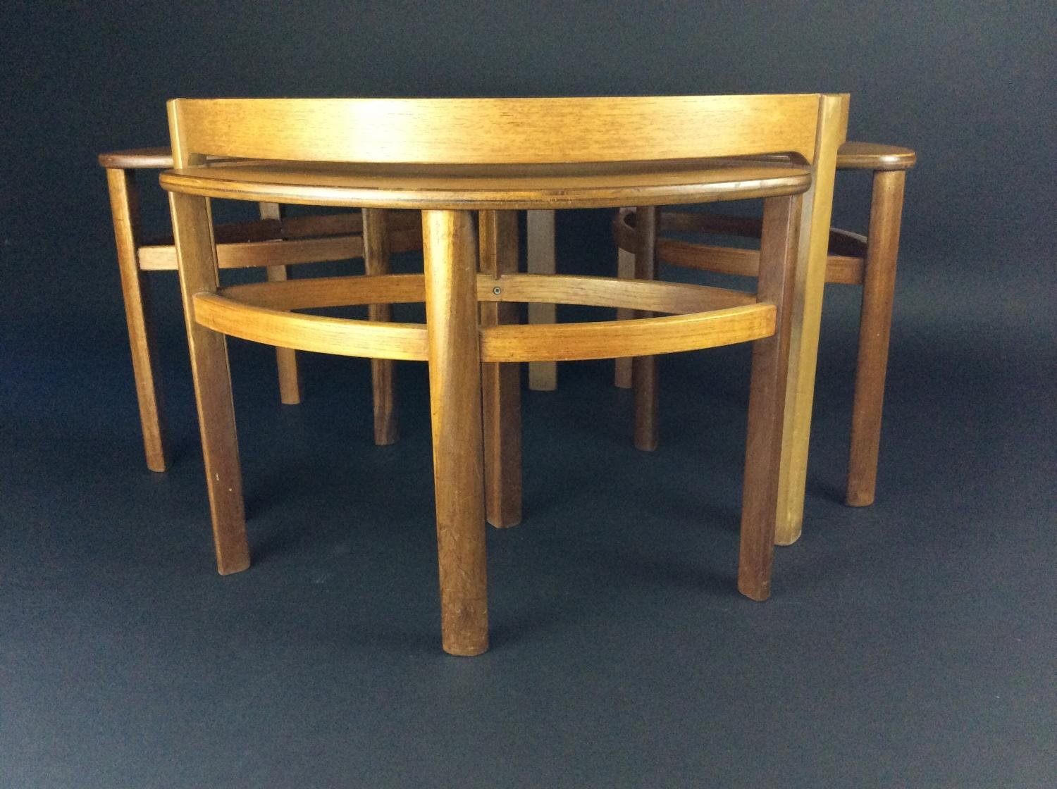 Retro light teak circular glass top coffee table nest of tables by -  Nathan Retro Teak Coffee Table And Nest Picture 3