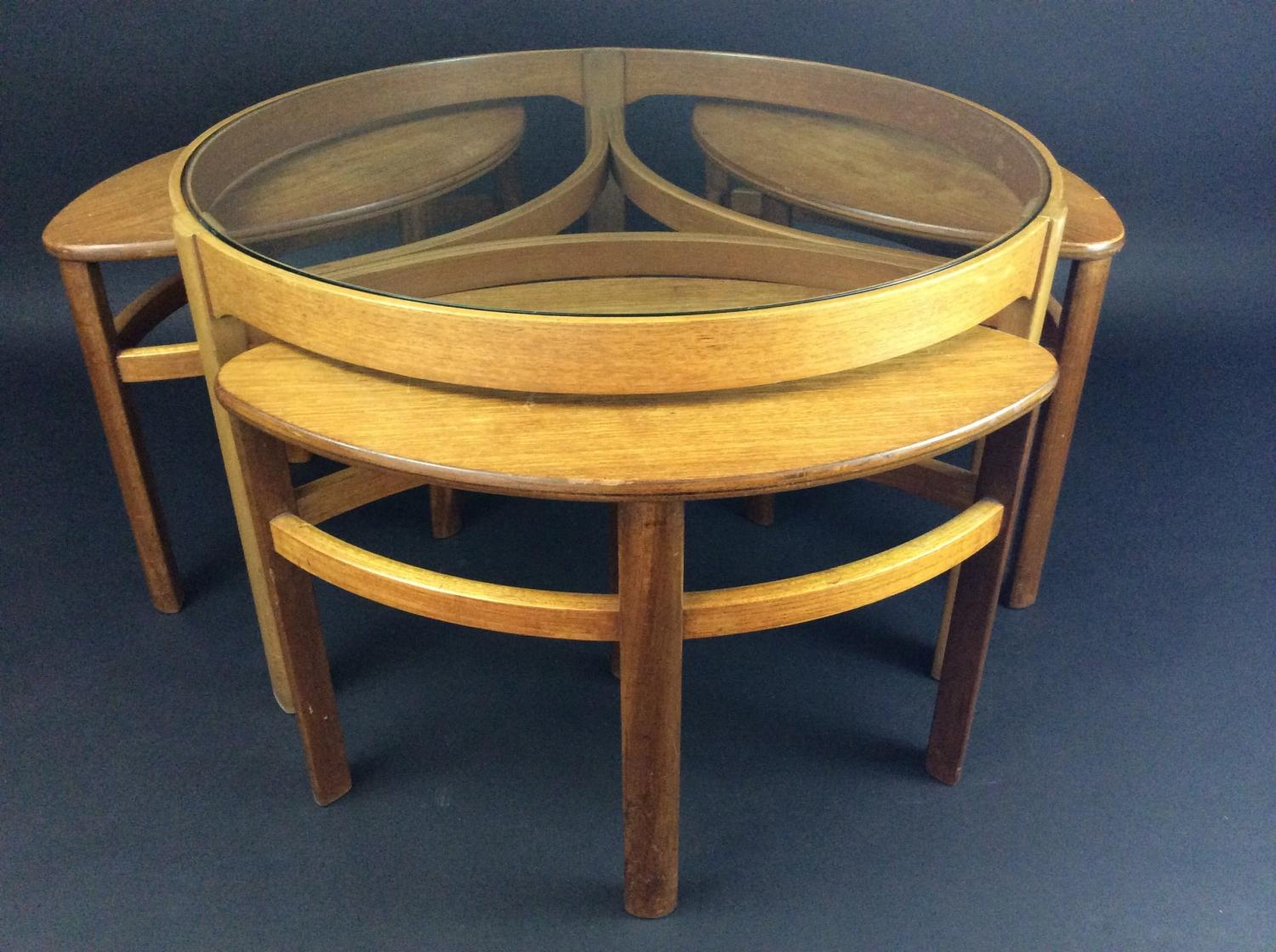 Retro light teak circular glass top coffee table nest of tables by -  Nathan Retro Teak Coffee Table And Nest Picture 4