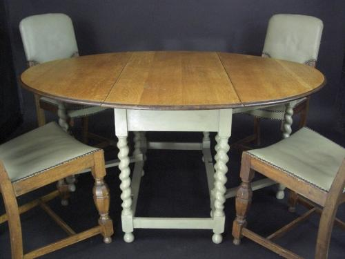 Oak and Sage Painted Gateleg Table and Chairs
