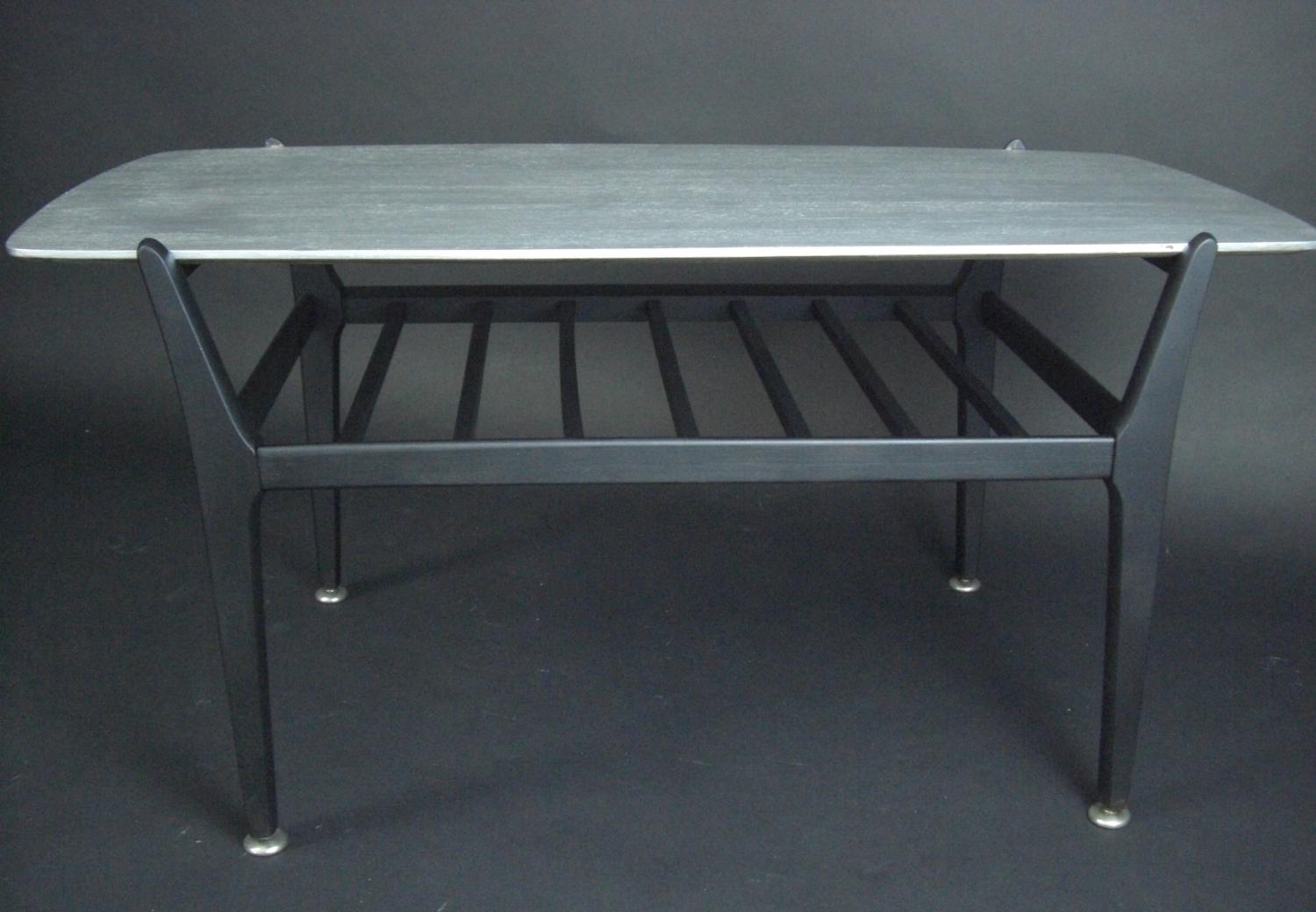 Silver and Black Coffee Table + Magazine Rack