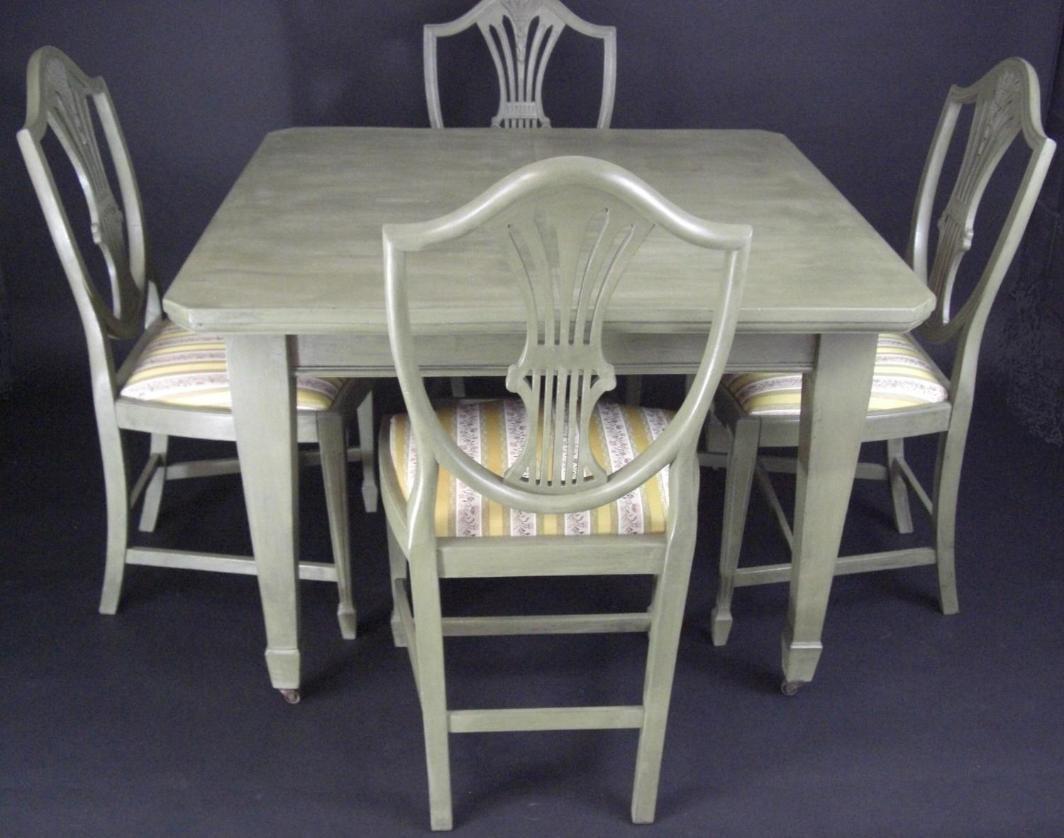 Olive Painted Table and Wheatsheaf Chairs