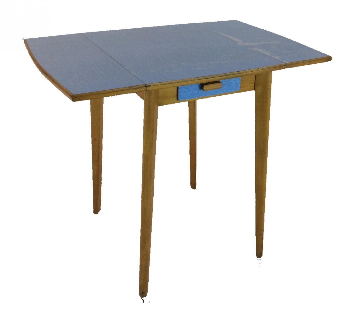 Retro bright blue formica table in sold recently for Formica table