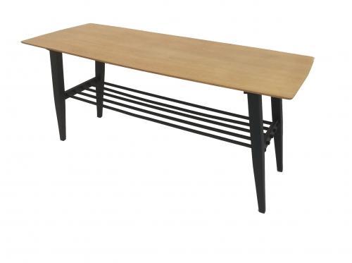 60s Wood and Matt Black coffee table