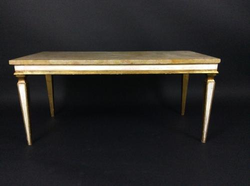 French Giltwood Sienna Marble coffee table