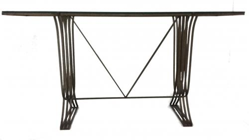 Metal and Glass Console + Matching Mirror