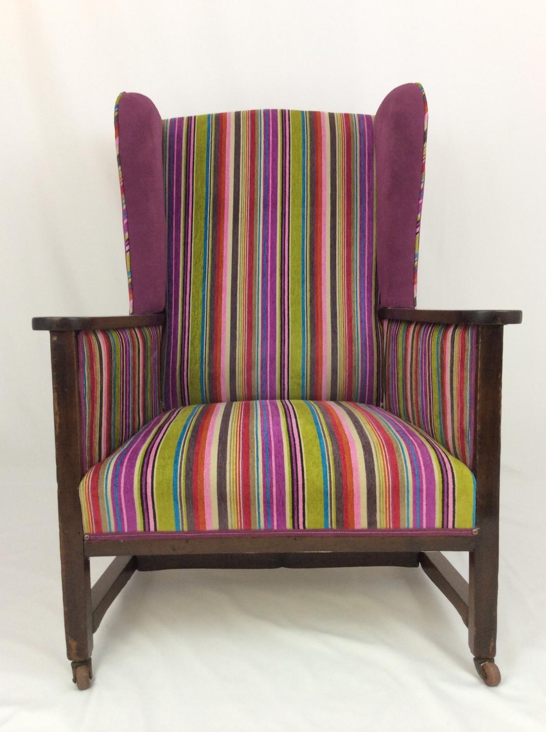 1940s Striped Velvet Armchair