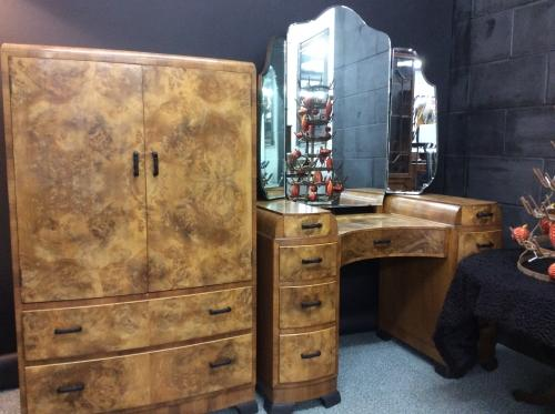 Art Deco Walnut Dressing Table and Cabinet