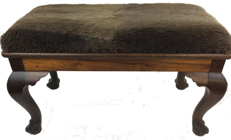Vintage Fur Hardwood Stool