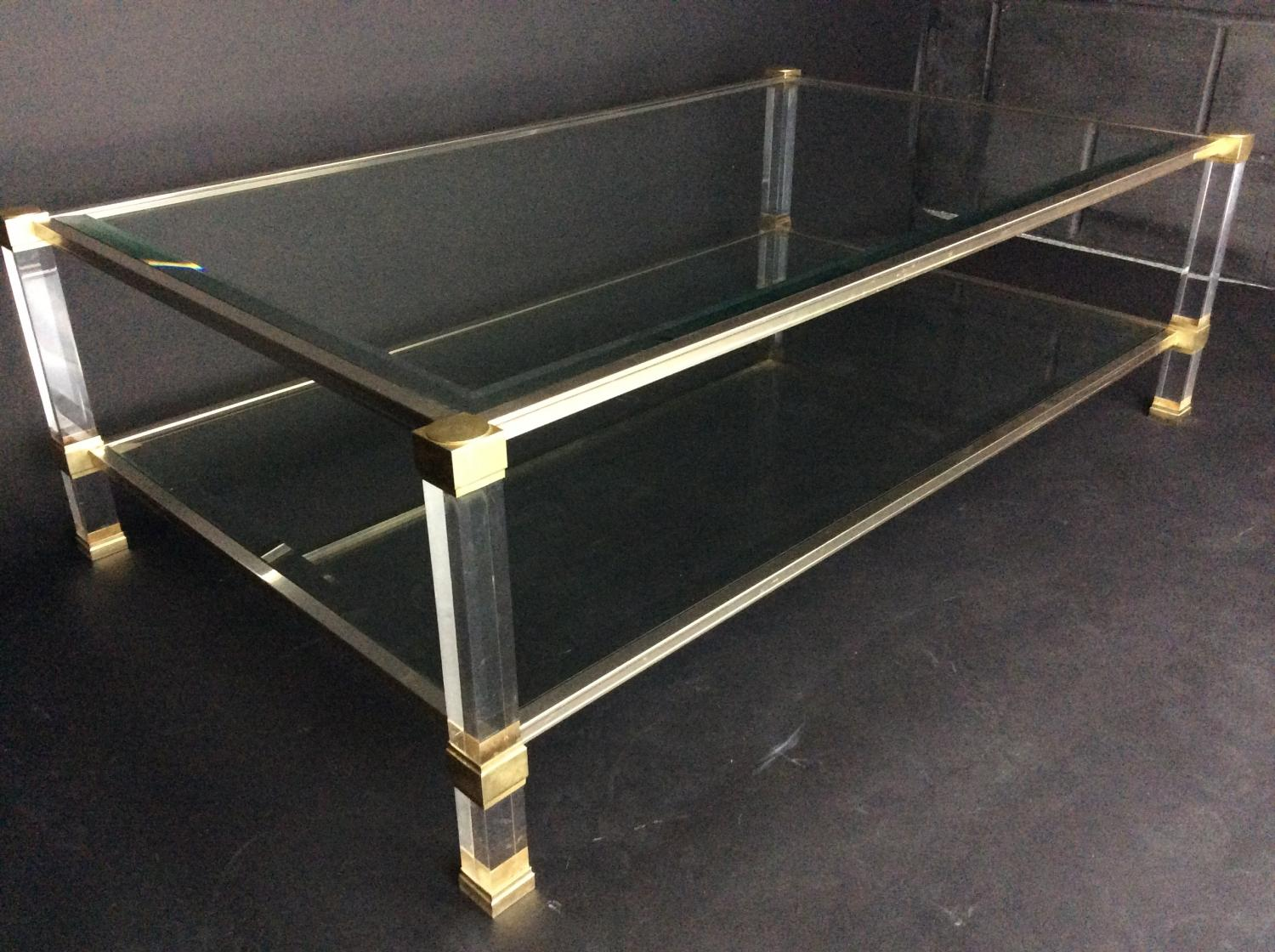 Pierre vandel brass lucite glass coffee table in sold recently for Lucite and brass coffee table