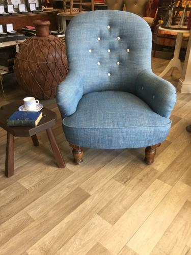 Reupholstered Victorian Buttoned Nursing Chair