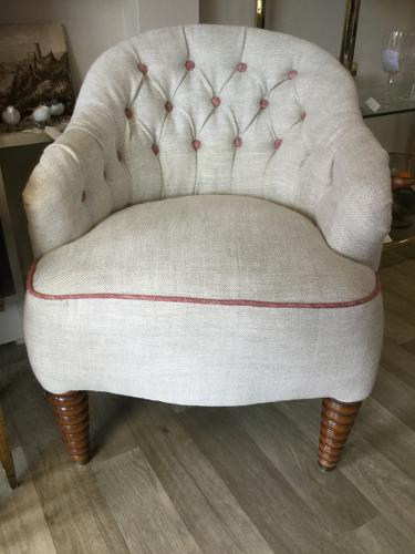 Reupholstered Victorian Deep Buttoned Nursing Chair