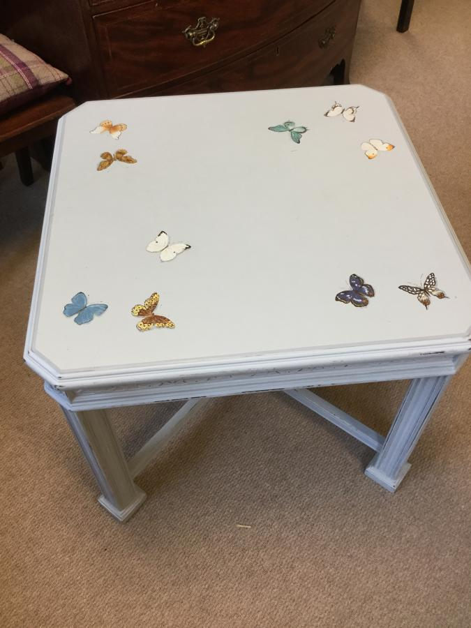 Hand Painted Blue Butterfly Table