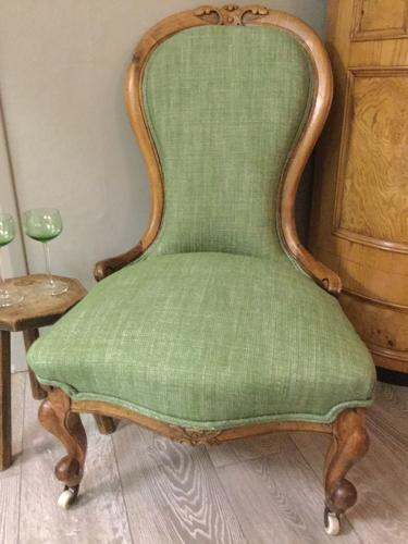 Reupholstered Victorian Walnut Chair