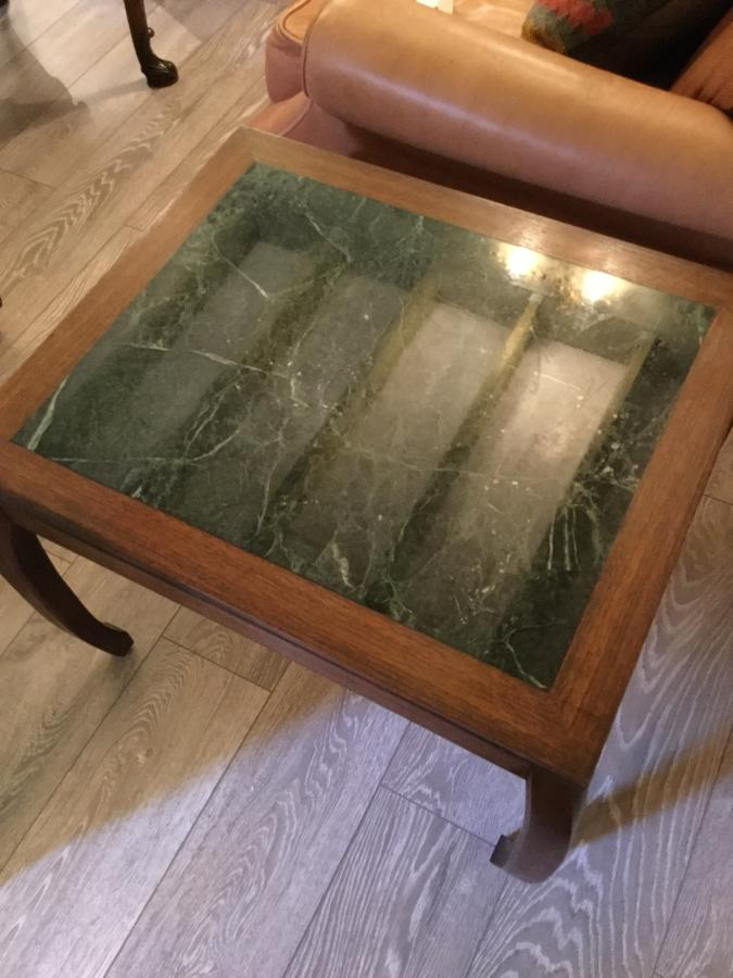 Pair of Chinese Style Wood and Marble Side Tables