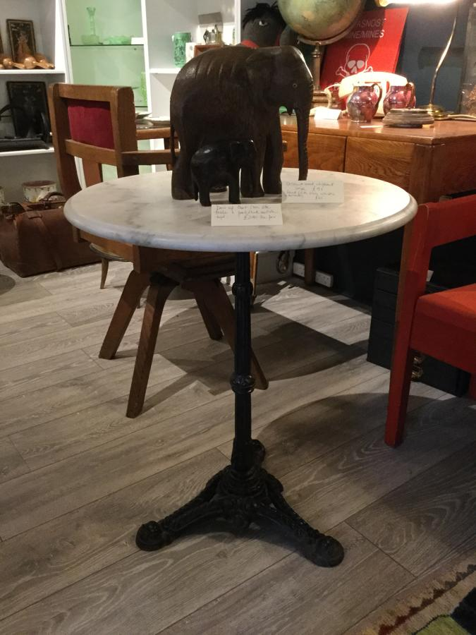 Pair of Cast Iron and Marble Side Tables