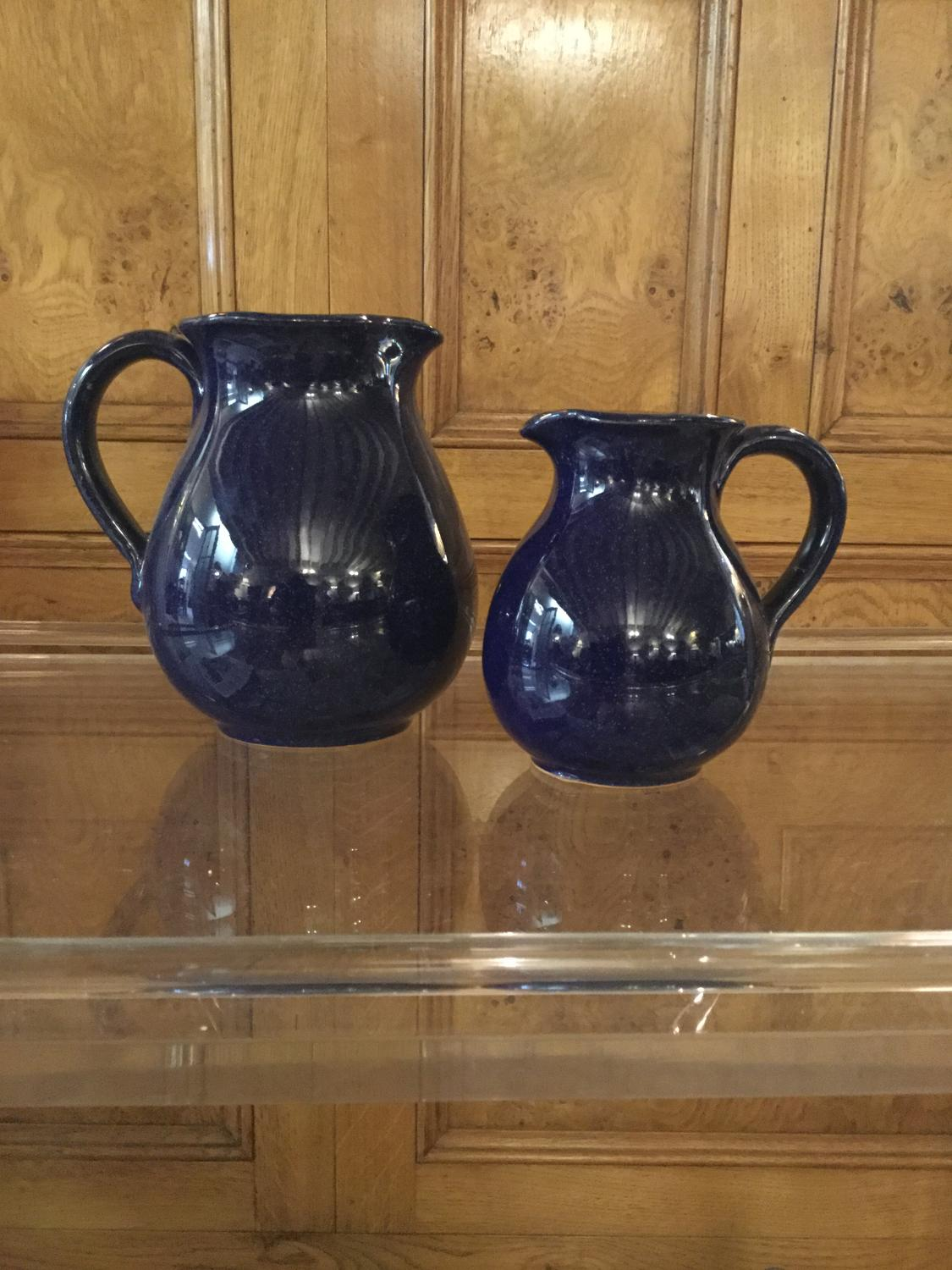 Pair of Blue Stoneware Jugs