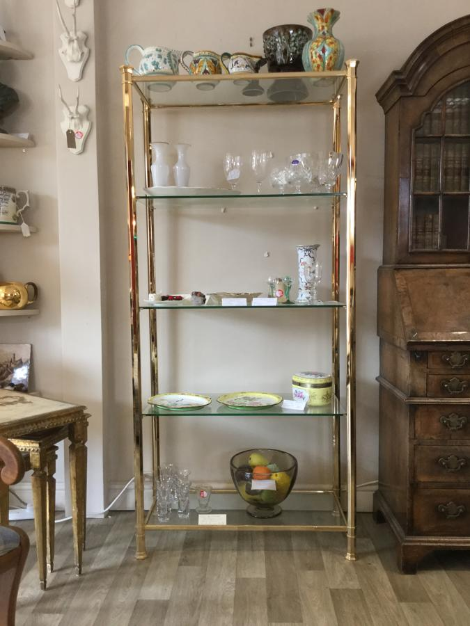 Brass and Glass Shelving Unit