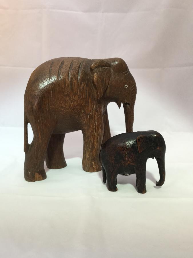 Pair of Coconut Wood Elephants