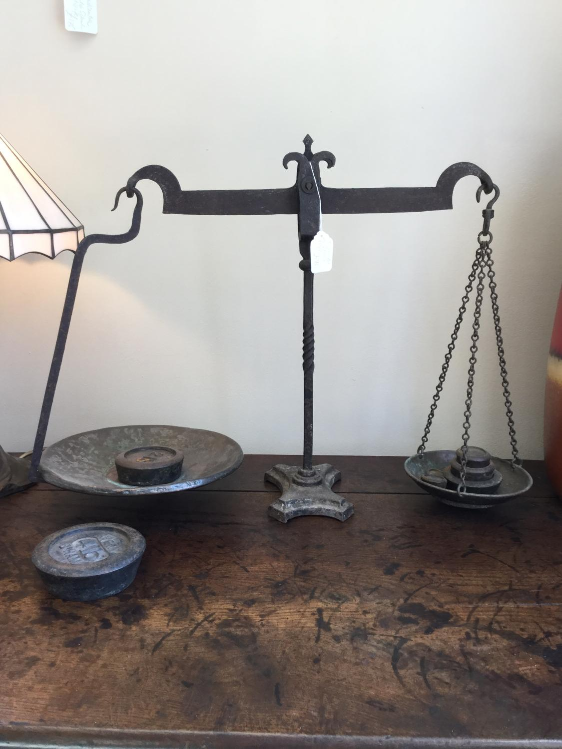 19th Cent Wrought Iron Scales and Weights
