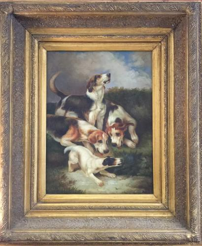 Framed Vintage Oil Painting on Canvas of Dogs