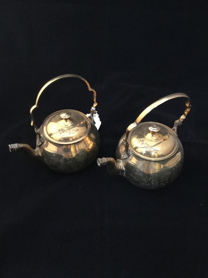 Pair of Brass Teapots