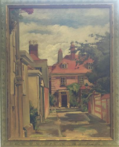 Oil Painting of Winchester Cathedral Close