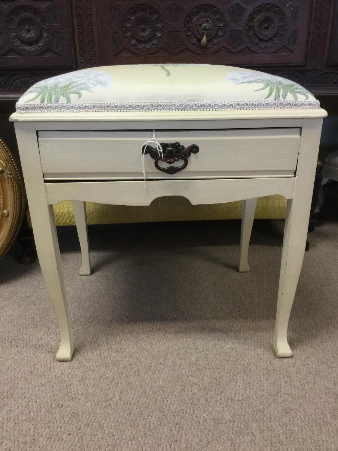 Reupholstered Piano Stool