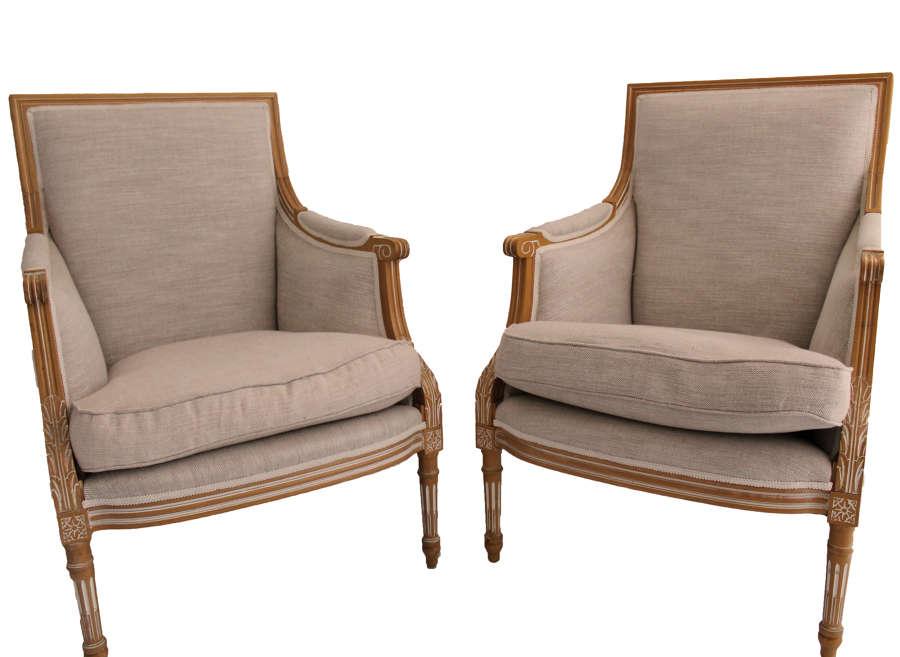 Pair of Louis Armchairs in Fermoie Linen