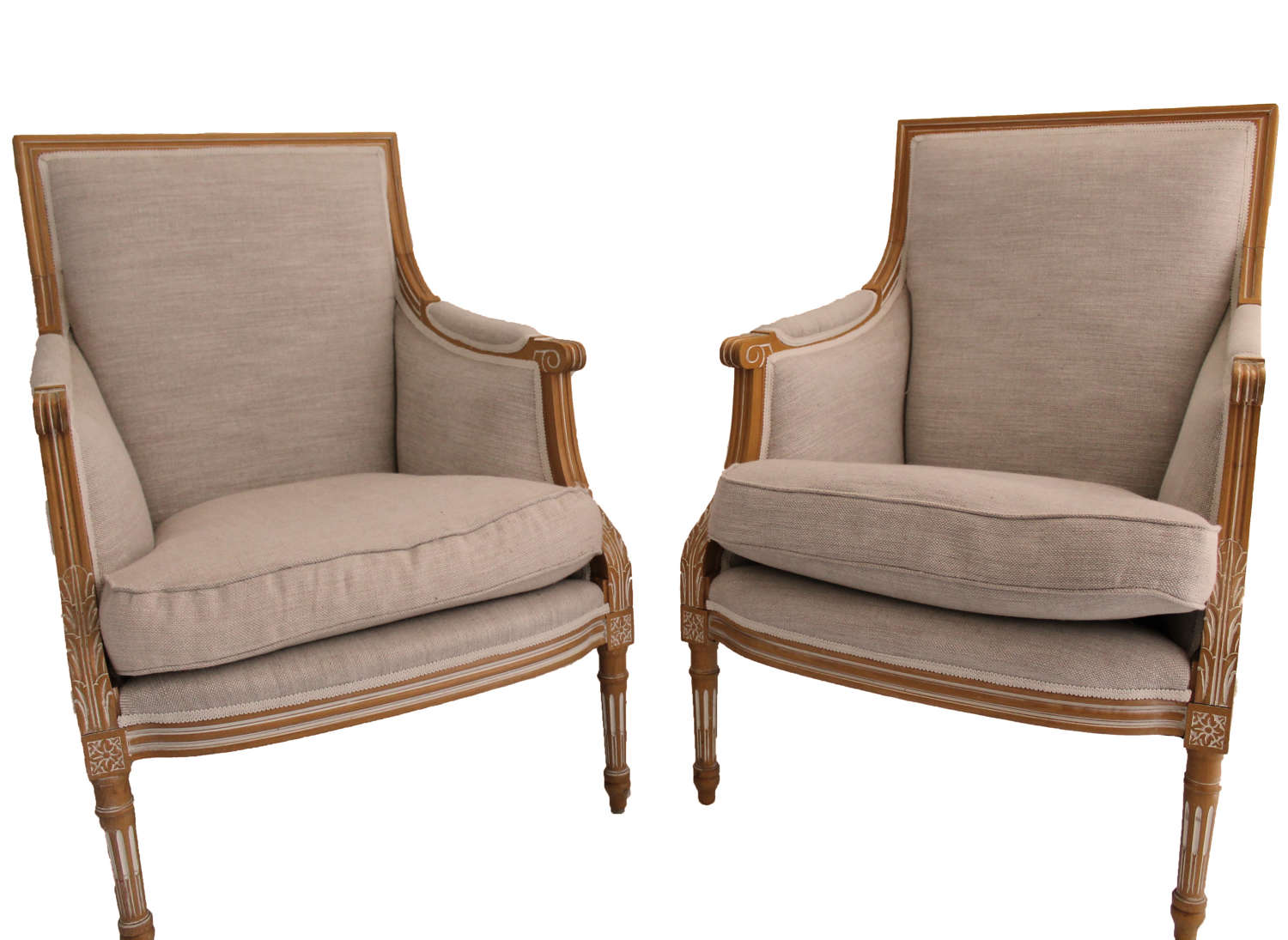 Pair of Louis Armchairs in Fermoie Linen