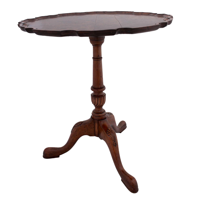 Edwardian Piecrust Edge Walnut Side Table