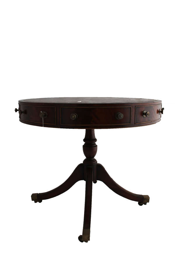 Georgian style leather inlaid Drum Table