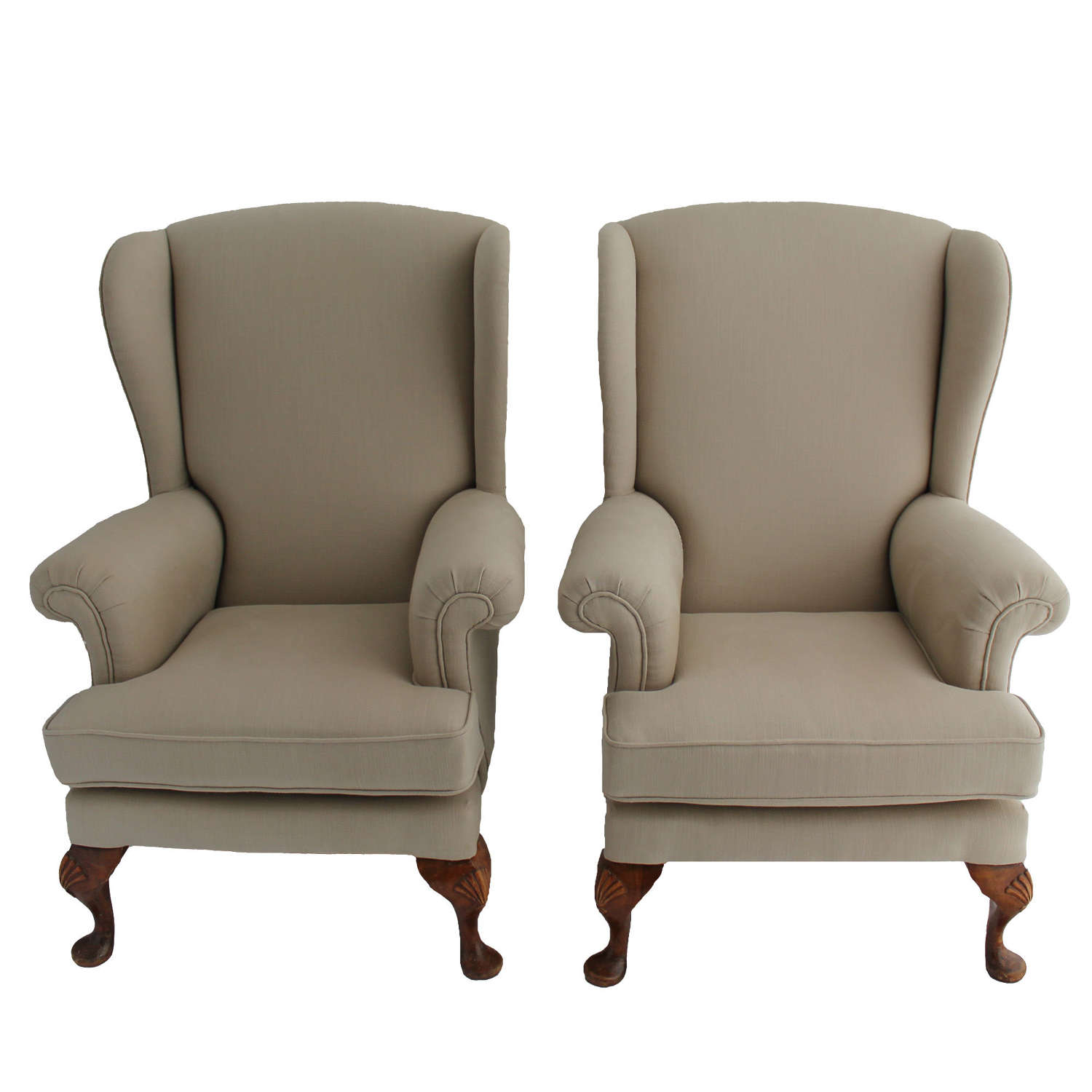 Pair of Parker Knoll Wingback Armchairs in Taupe Linen