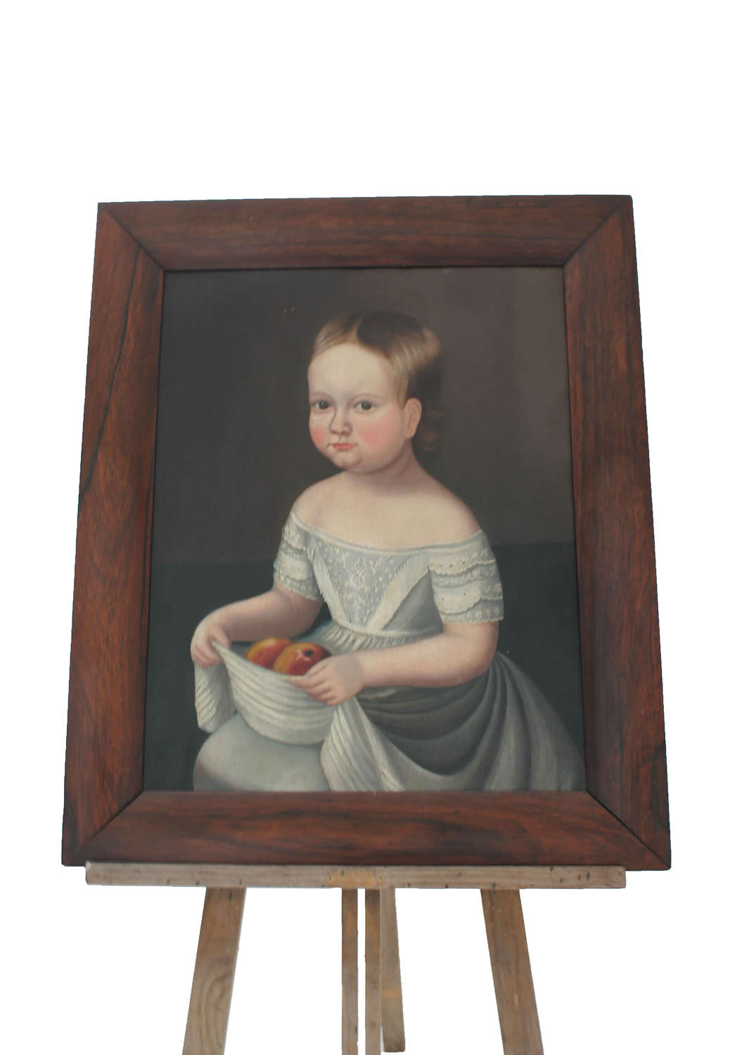 Georgian Oil on Canvas Little Girl with Apples, American School