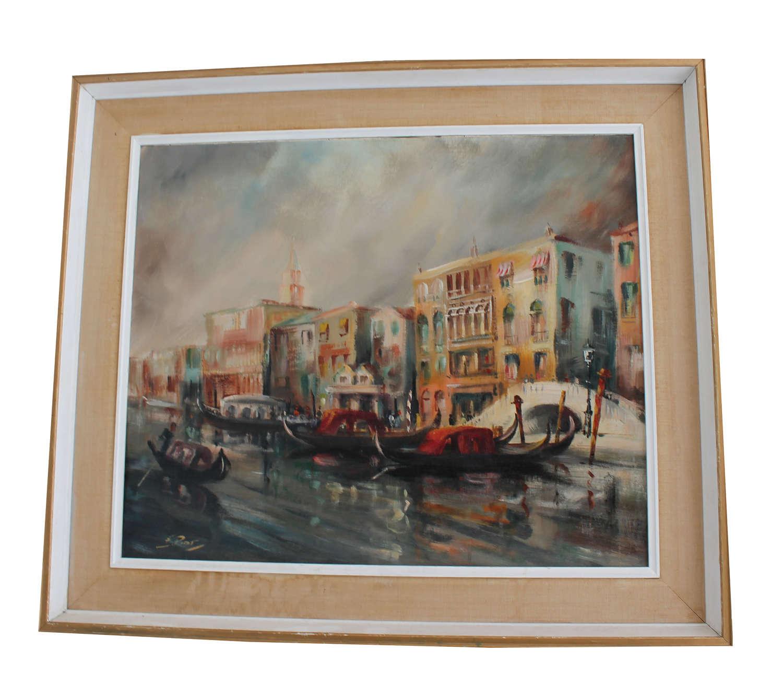 Mid-Century Oil on Canvas Venice
