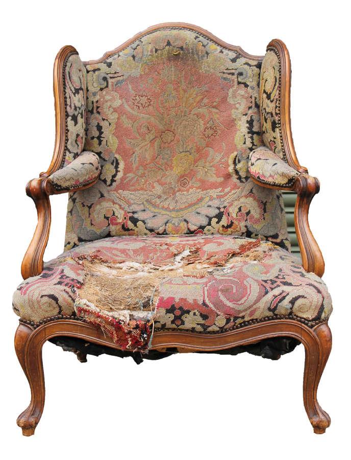 19th Century Walnut Frame Confessional Chair