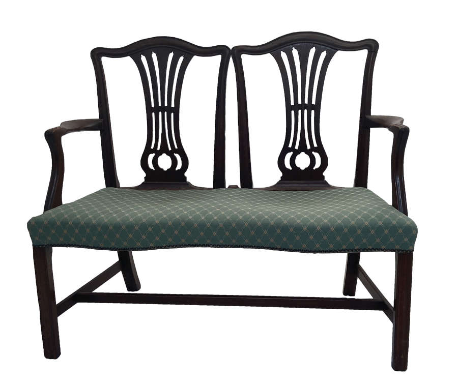 19th Century Chippendale Style Upholstered Bench