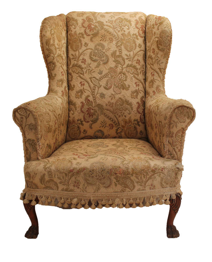 19th Century Large Wingback Armchair on Paw Feet