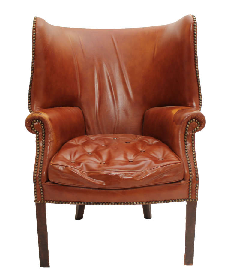 Mid Century Leather high back wingback Armchair