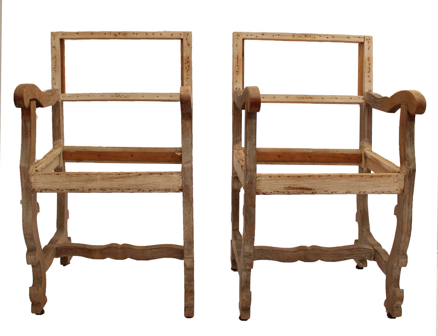 Pair of 19c Limed Oak Chairs