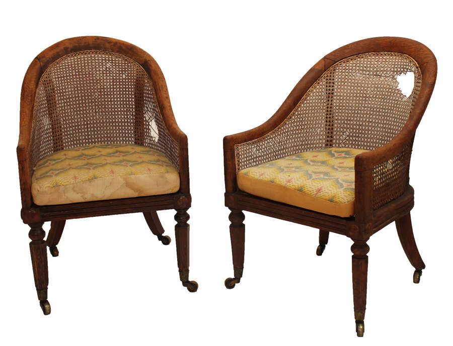 Pair of Gillow Library Bergere chairs