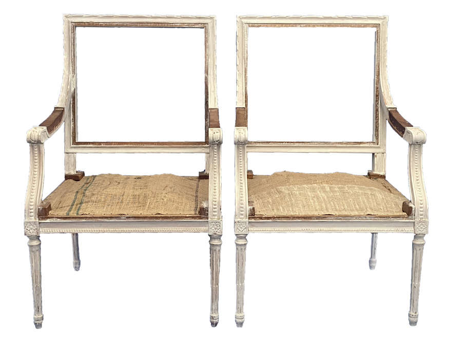 Pair of Whitewashed Louis Frame Chairs