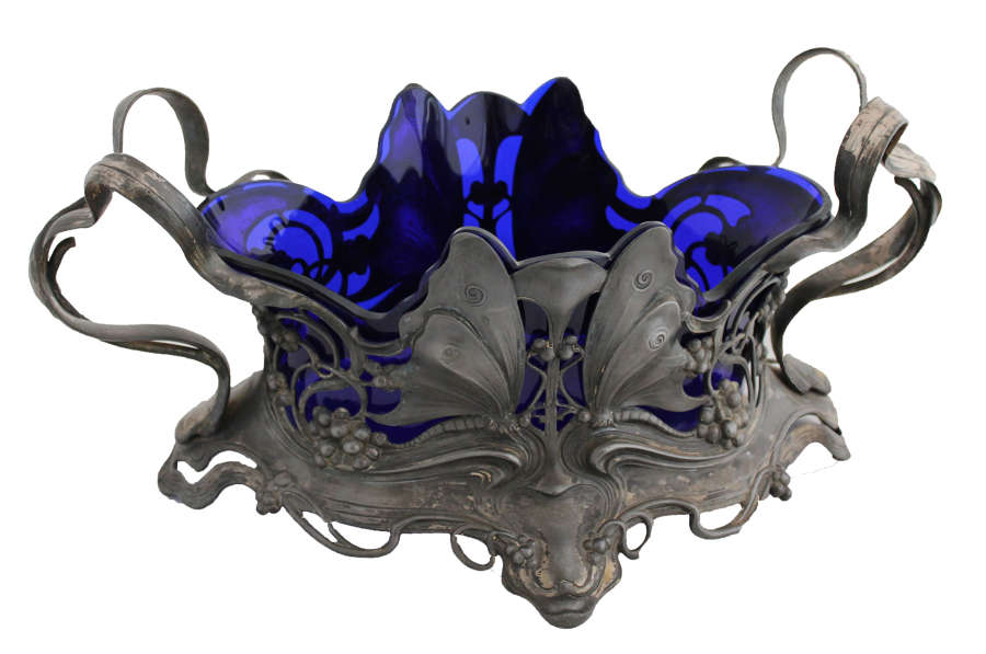 Art Nouveau Metal Dish with Blue Glass Inner