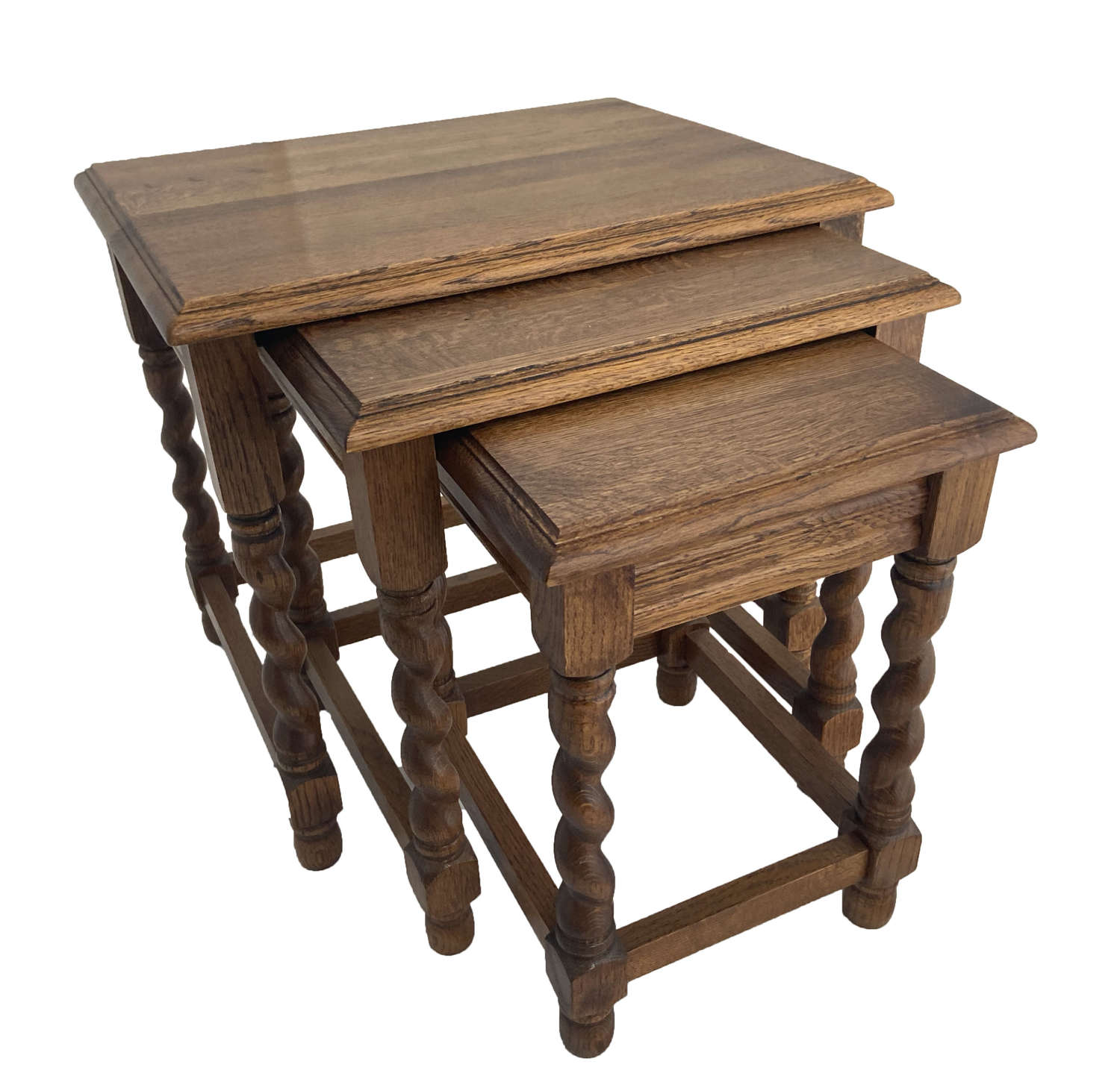 Oak and barleytwist Nest of Tables