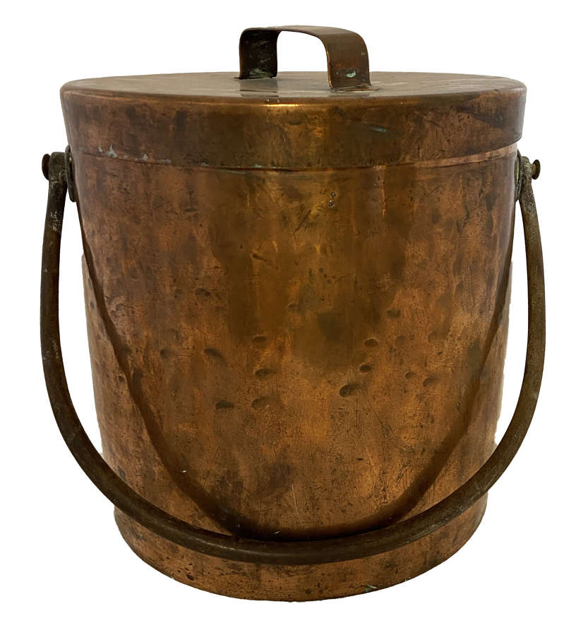 19th century copper and iron cooking pot