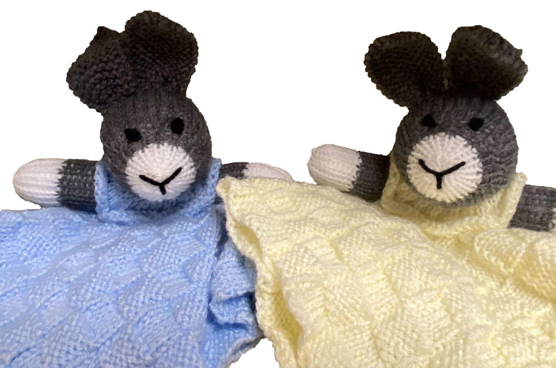 Handknitted Grey Rabbit Comforter